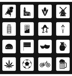 Netherlands icons set simple style vector