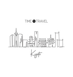 One continuous line drawing kyoto city skyline vector