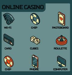 online casino color outline isometric icons vector image