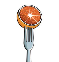 Orange fork fresh image vector
