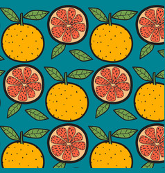 oranges fruit pattern with blue background vector image
