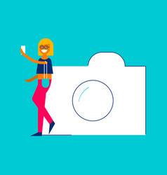 photo sharing concept girl taking selfie on phone vector image