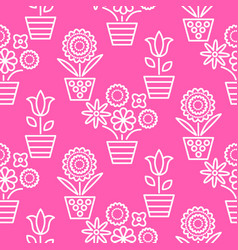 pink and white line flower pots seamless vector image