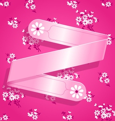 Pink Floral Satin Ribbon Background vector image