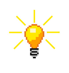 Pixel light bulb vector