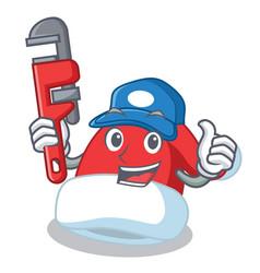 plumber christmas hat character cartoon vector image