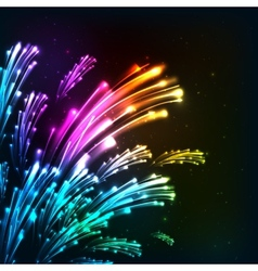 Rainbow colors neon fireworks vector image