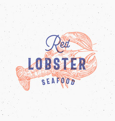 Red lobster seafood retro print effect card vector
