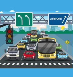 Red traffic light flat vector