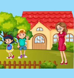 Scene with family having a good time at home vector