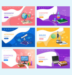 school subjects education and knowledge banners vector image