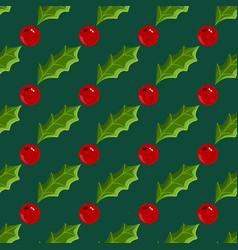 seamless pattern with cartoon christmas mistletoe vector image