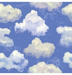 Seamless pattern with watercolor blue clouds vector