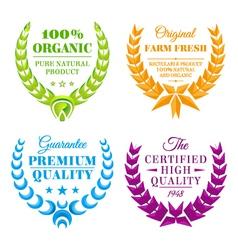 Set color wreath labels vector