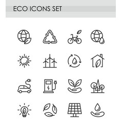 set line eco icons green vector image