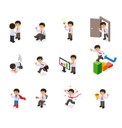 Set of businessman character cartoon isometric vector