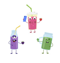 Set of funny characters from smoothies vector