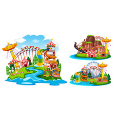 Set of isolated theme park vector