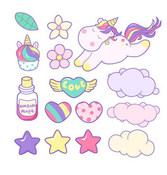 Set unicorns and different magic elements vector
