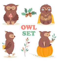 set with four funny cartoon owls vector image