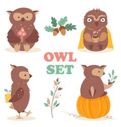 Set with four funny cartoon owls vector
