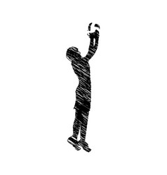 silhouette drawing man playing volleyball vector image
