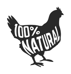 Silhouette of farm Hen black with text inside on vector image