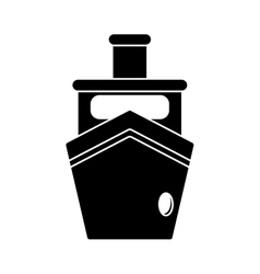 silhouette steam boat ship transport vector image