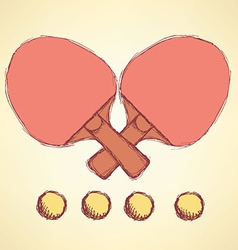 Sketch table tennis in vintage style vector image