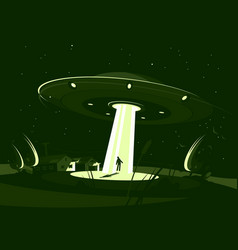 Spaceship abducts man vector