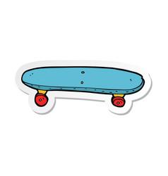 Sticker of a cartoon skateboard vector