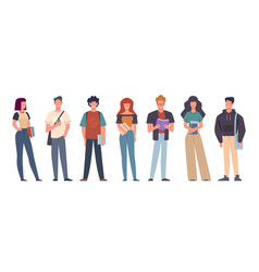 Students group students in casual wear vector