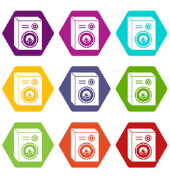 studio speakers icons set 9 vector image