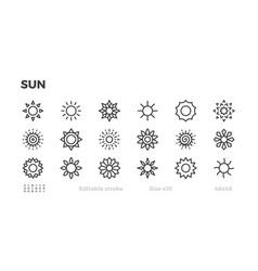 sun icon set sunny weather warm star symbol vector image