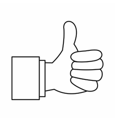 Thumb up gesture icon outline style vector image