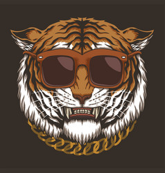 Tiger head eyeglasses vector