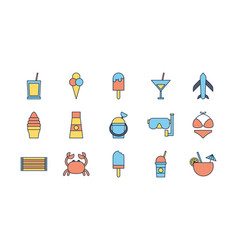 tourism travel time summer icons set vector image