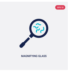 Two color magnifying glass with worms icon from vector