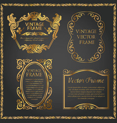 Vintage decorative element gold set vector