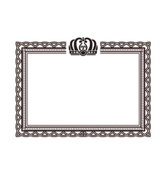 Vintage rectangular frame with crown logo on top vector