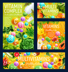 Vitamins fruits and vegetables nuts and herbs vector