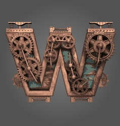 W rusted letter with gears vector