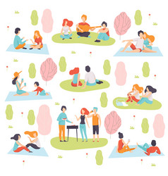 Young men and women having picnic and cooking meat vector