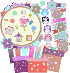 Background with owl flowers birds and gift boxes vector image