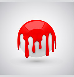 ball with paint drops red vector image