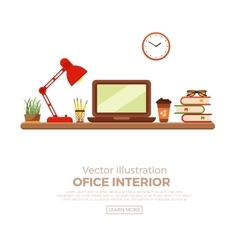colorful office desk closeup vector image vector image
