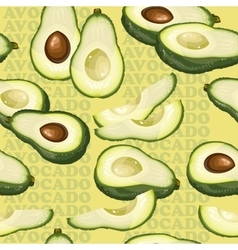 Seamless texture with avocado and slices on yellow vector image vector image