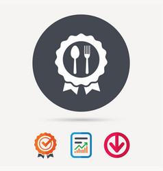 award medal icon food winner emblem sign vector image vector image