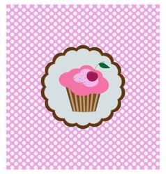 background with delicious cupcake vector image vector image