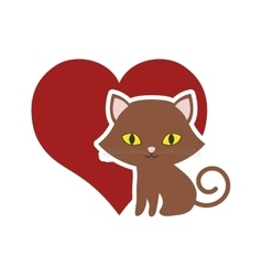 Cat breed animal mammal red heart vector